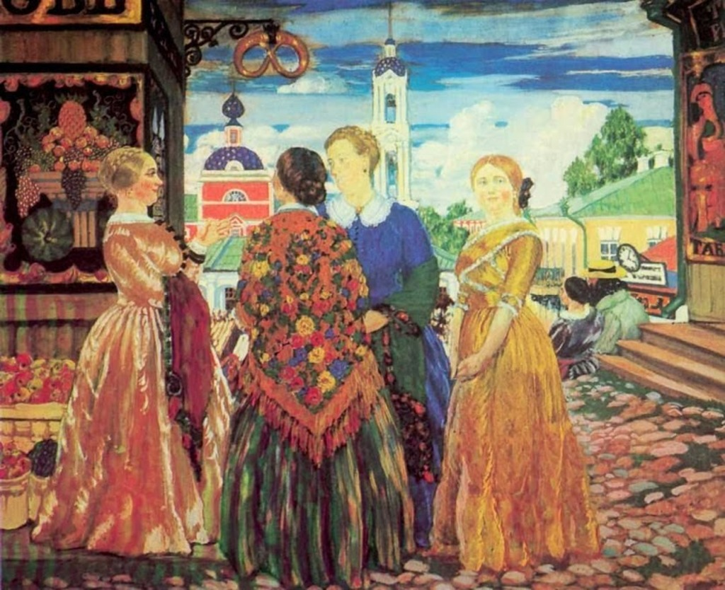 Кустодиев Борис Михайлович. Купчихи в Кинешме. 1912-1024